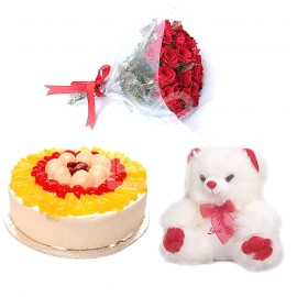 Flower With Cake Teddy