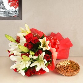 ORIENTAL LILIES, ROSES MIX DRY FRUITS